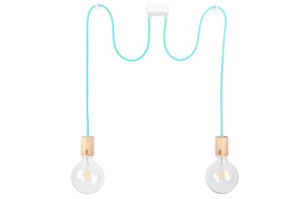lampa pająk z drewnianymi oprawkami CableTWO wood