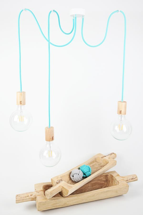lampa pająk z drewnianymi oprawkami CableTHREE wood